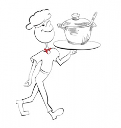 Chef with food serving tray vector