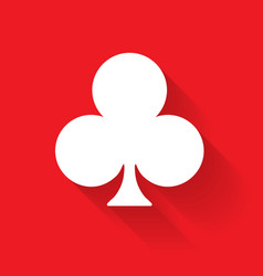 club poker suit symbol white sign on red vector image