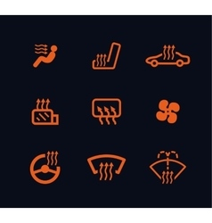 collection of orange car heating dashboard vector image
