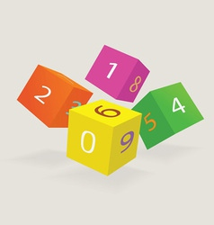 Color cubes with new date of year vector