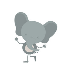 Colorful caricature with cute elephant dancing vector