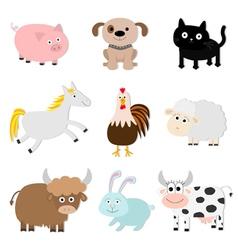 Farm animal set Pig cat cow dog rabbit ship horse vector image vector image