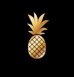 gold pineapple fruit vector image vector image