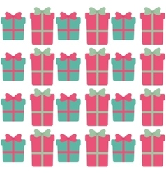 Green and pink gift boxes with bow seamless vector