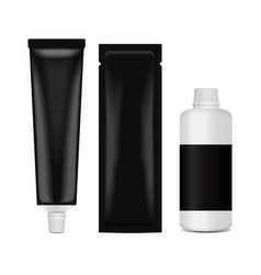 Hair coloring set package - tube stick bottle vector