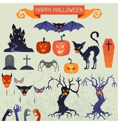 Happy Halloween elements and icons set for design vector image
