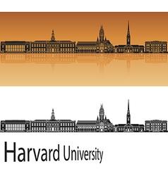 Harvard university skyline in orange vector