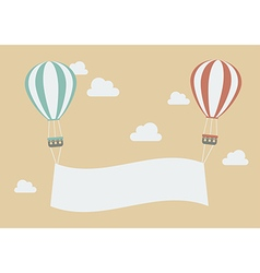 Hot air balloons with banner vector image vector image