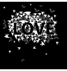 inscription love with bird vector image vector image