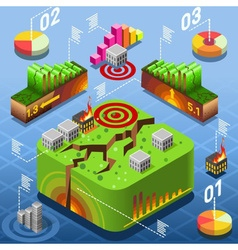Isometric natural geological disaster earthquake vector