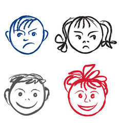 Kids smile and sad face faces profile with vector