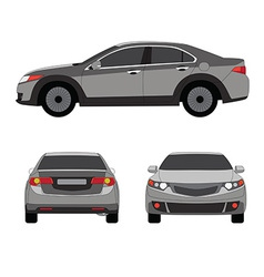 Large sport sedan three side view vector image