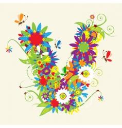 letter V floral design vector image vector image