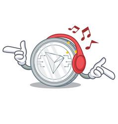 Listening music tron coin character cartoon vector