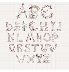Mechanical Alphabet Set vector image