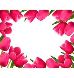 Pink fresh spring flowers background vector image vector image