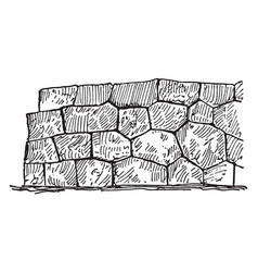 Polygonal masonry a technique of stone vector