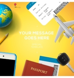 Preparation for travel phone ticket passport vector