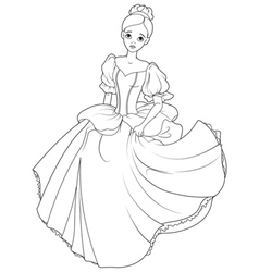 Running Cinderella Coloring Page vector image vector image