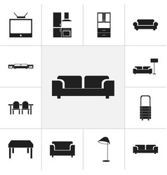 set of 12 editable interior icons includes vector image