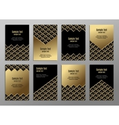 Set of cards gold on the black Business plates vector image vector image