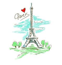 Sketch of Eiffel Tower vector image vector image
