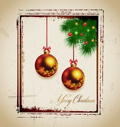 Stamp and christmas tree with balls vector image vector image