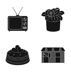 Tv flowerpot and other web icon in black style vector