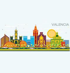 Valencia spain city skyline with color buildings vector