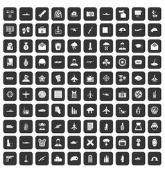 100 military journalist icons set black vector
