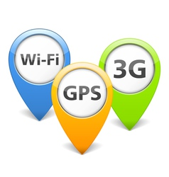 Wi-Fi 3G and GPS Icons vector image
