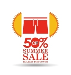 Summer sale 50 discounts with clothes vector