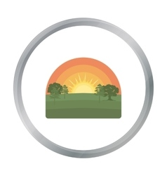 Sunrise icon in cartoon style isolated on white vector