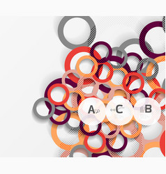 Geometrical circles on white with shadows vector