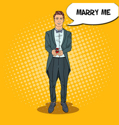 Pop art handsome man with wedding ring vector