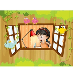 A girl studying near the window with birds vector