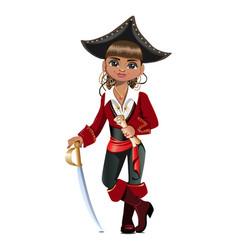 Pretty girl pirate vector