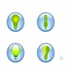 Set eco electric bulb symbols icons vector