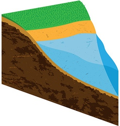 Earth slice with water source vector image