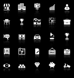 Asset and property icons with reflect on black vector