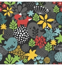 Seamless pattern with cute birds and small fox vector