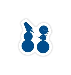 Paper sticker on white background funny snowmen vector