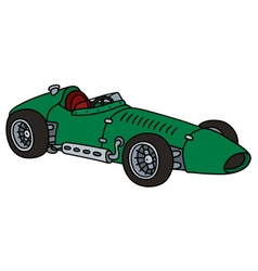 Old green racing car vector
