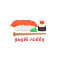 Sushi rolls cartoon style icon vector