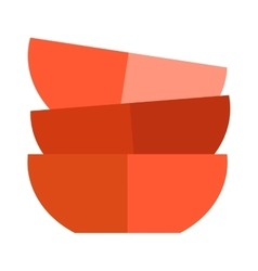 Red soup cup plate vector