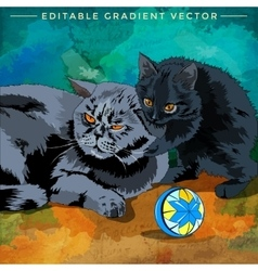 Cat and kitten vector