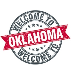 Welcome to oklahoma red round vintage stamp vector