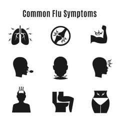 Flu influenza sickness symptoms icons vector