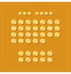 Abc alphabet golden coins on orange background vector