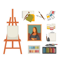Artist paiting materials and creative art picture vector